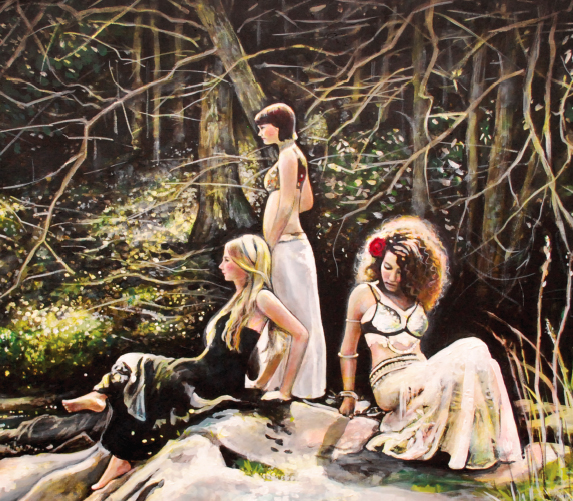 Acrylic painting of three women in the woods.