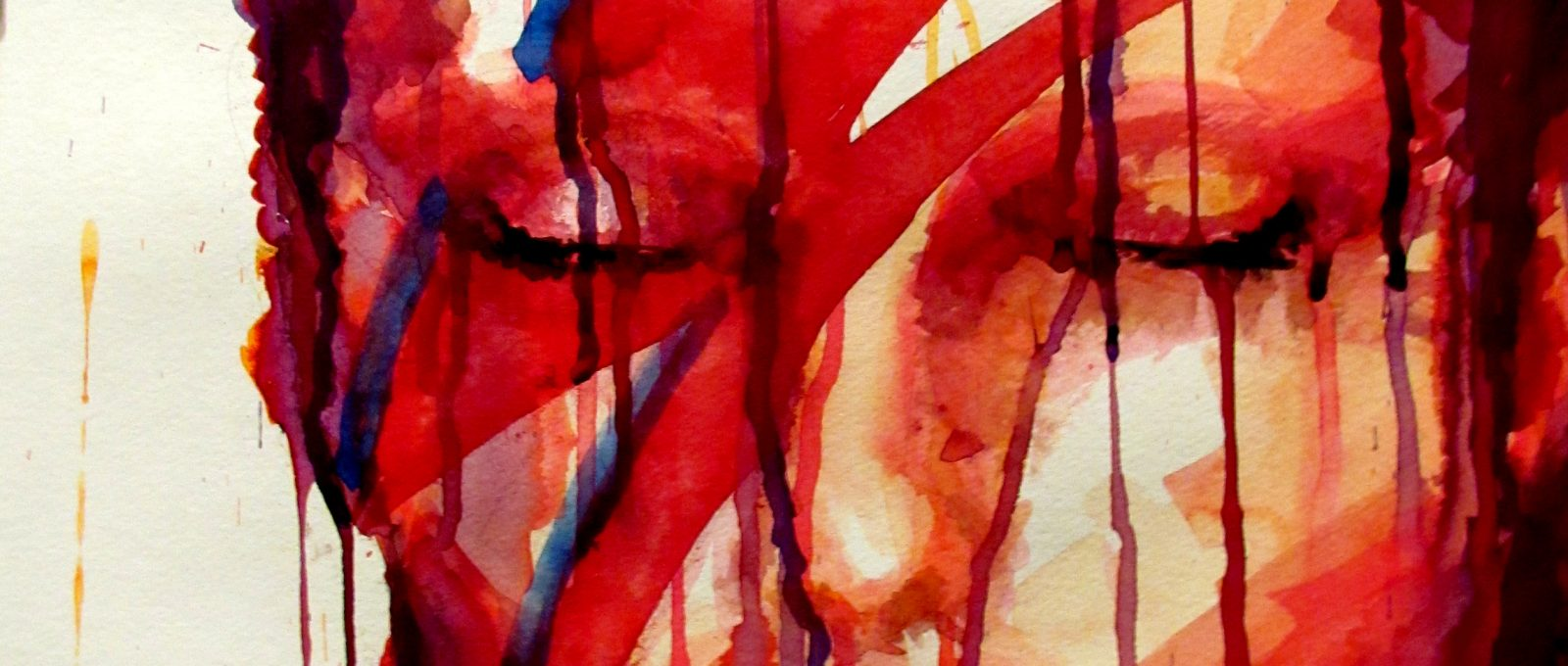 Abstract watercolor painting of David Bowie with his signature lightning bolt face paint.